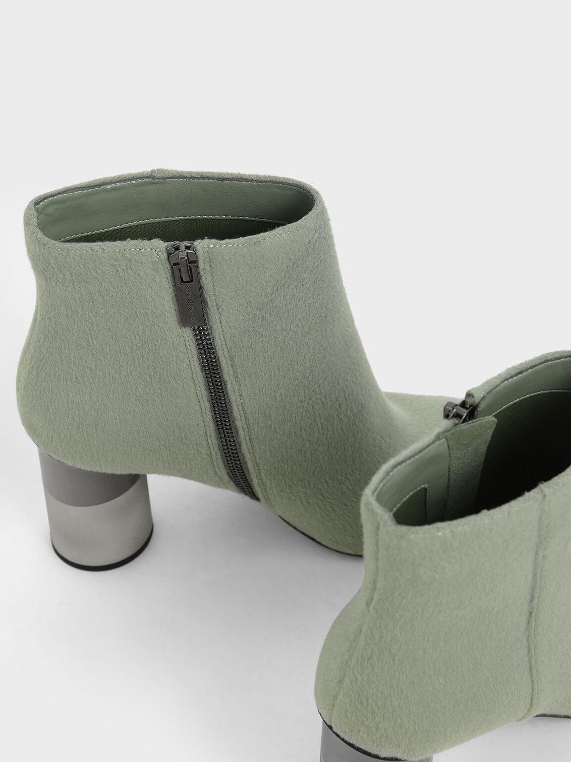 Concrete Heel Felt Ankle Boots, Sage Green, hi-res