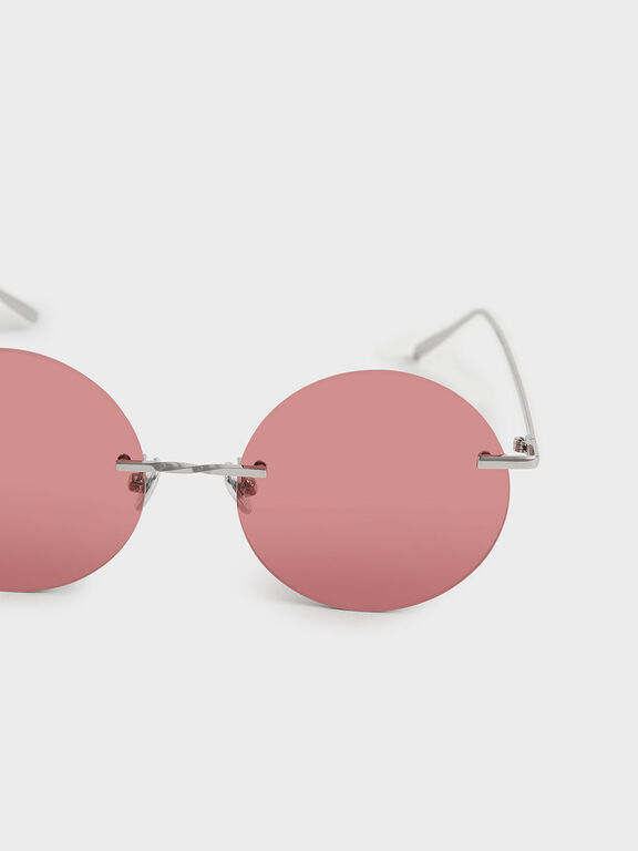 Round Rimless Sunglasses, Red