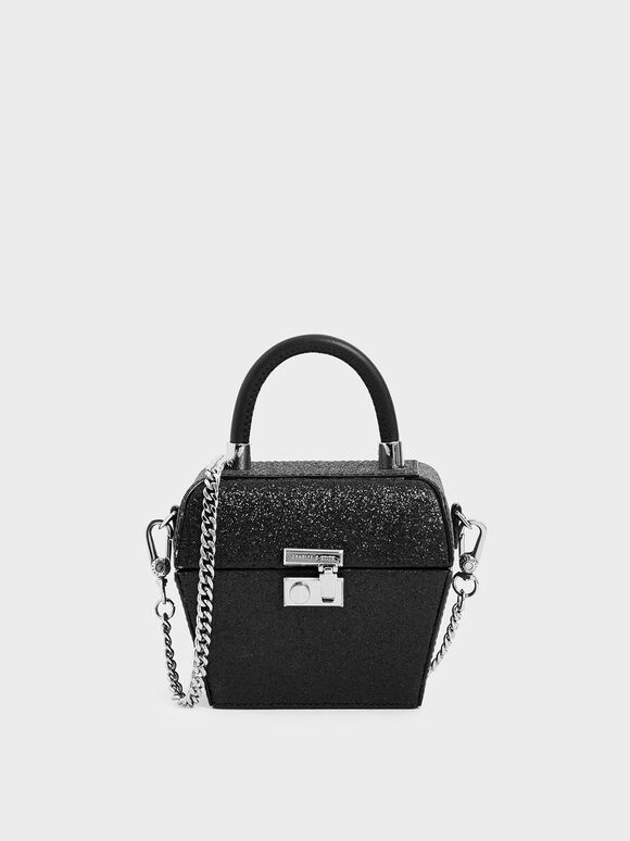 Glitter Mini Sculptural Top Handle Bag, Black Textured, hi-res