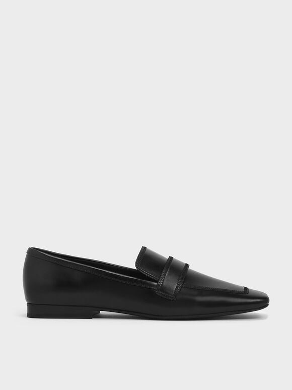 Overlock Stitch Loafers, Black, hi-res