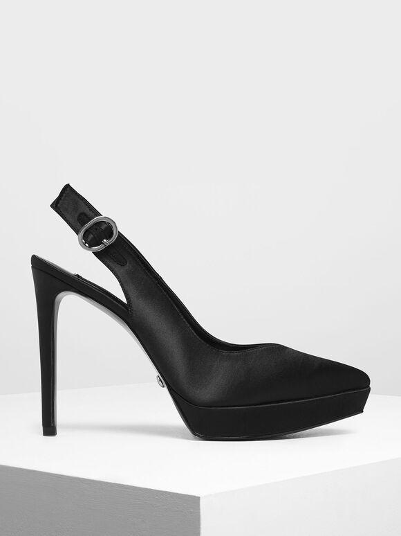 Satin Slingback Platform Heels, Black, hi-res