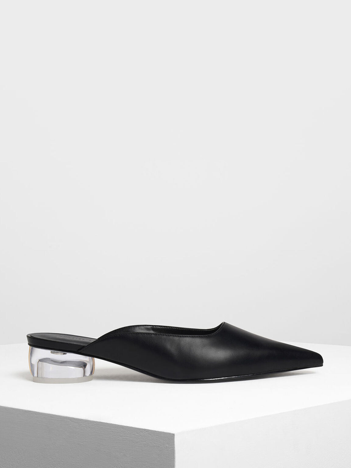 Lucite Heel Pointed Mules, Black, hi-res