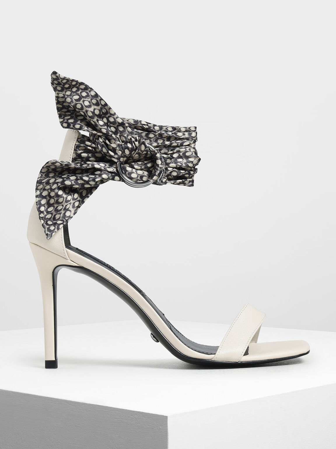 Snake Print Leather Ankle-Tie Heels, Cream, hi-res
