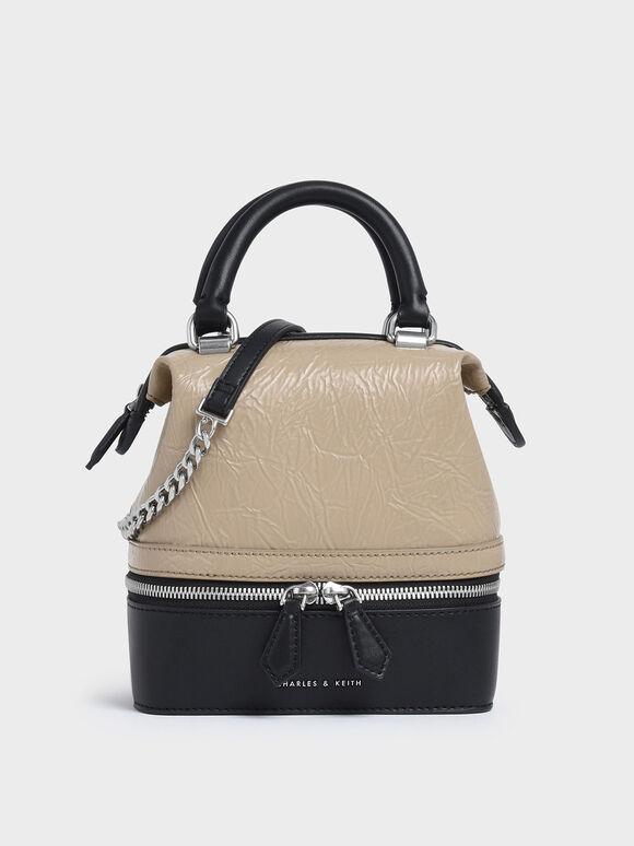 Wrinkled Effect Two-Way Zip Boxy Bag, Beige, hi-res