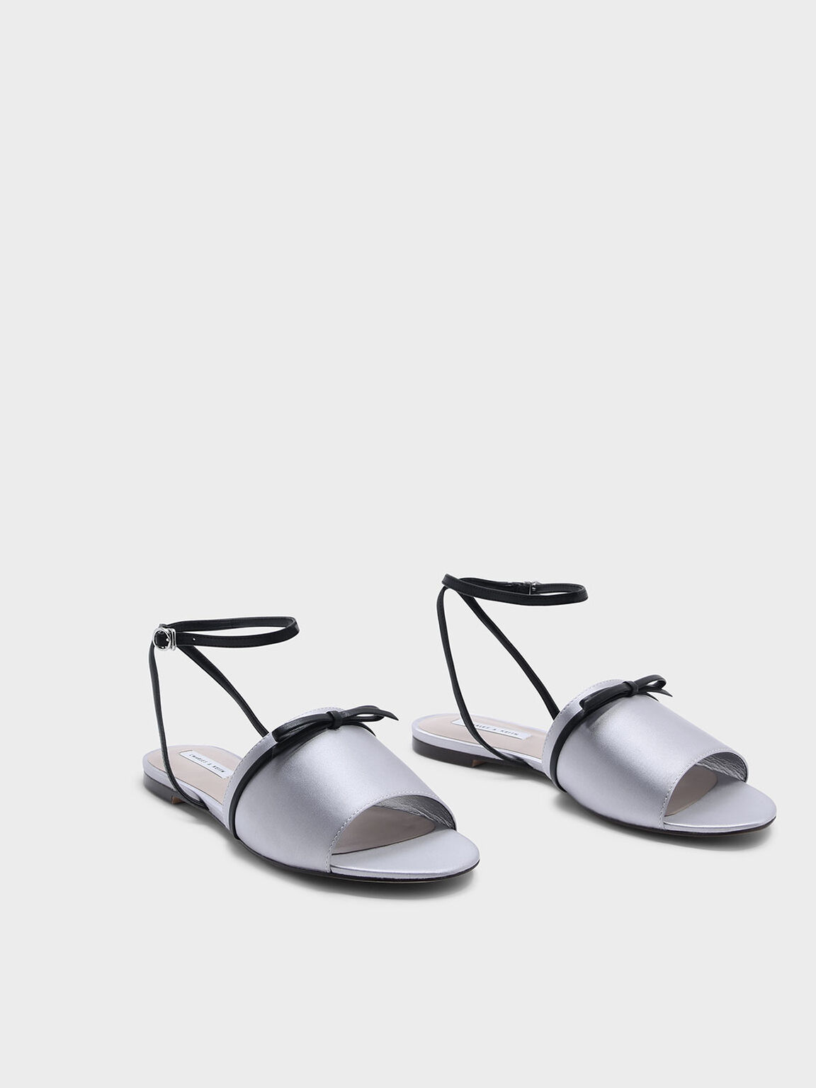 Bow Detail Sandals, Grey, hi-res