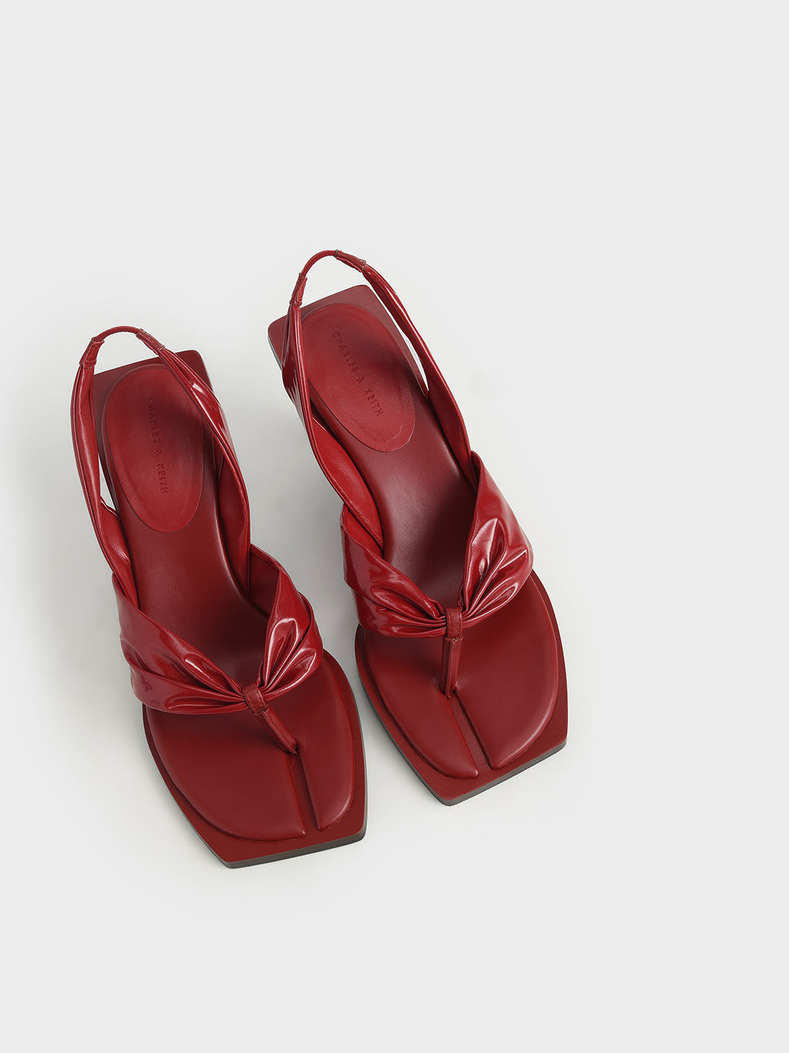 Limited Edition: Patent Slingback Thong Sandals, Red, hi-res