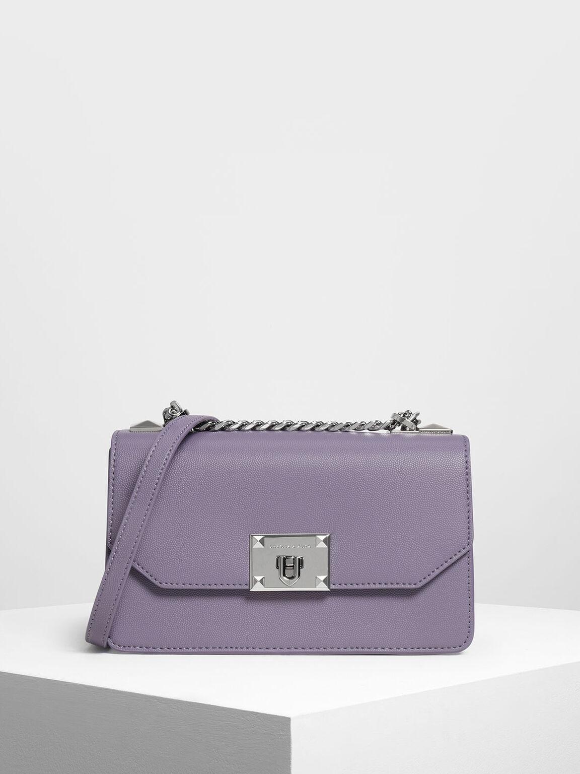 Classic Front Flap Crossbody Bag, Lilac Grey, hi-res