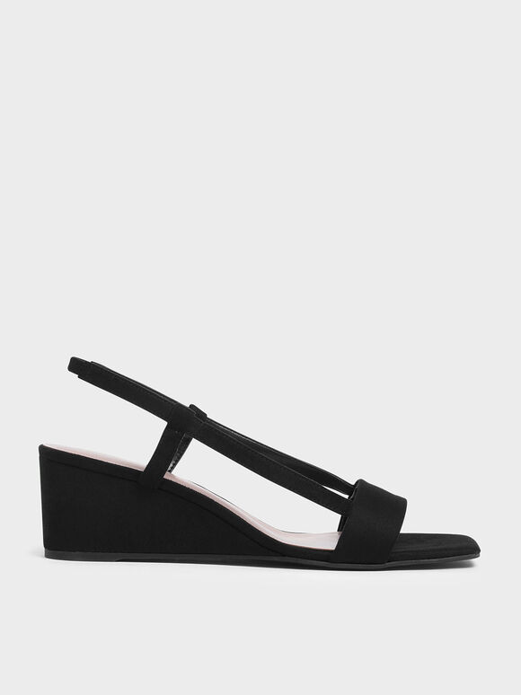 Square Toe Slingback Wedges, Black, hi-res