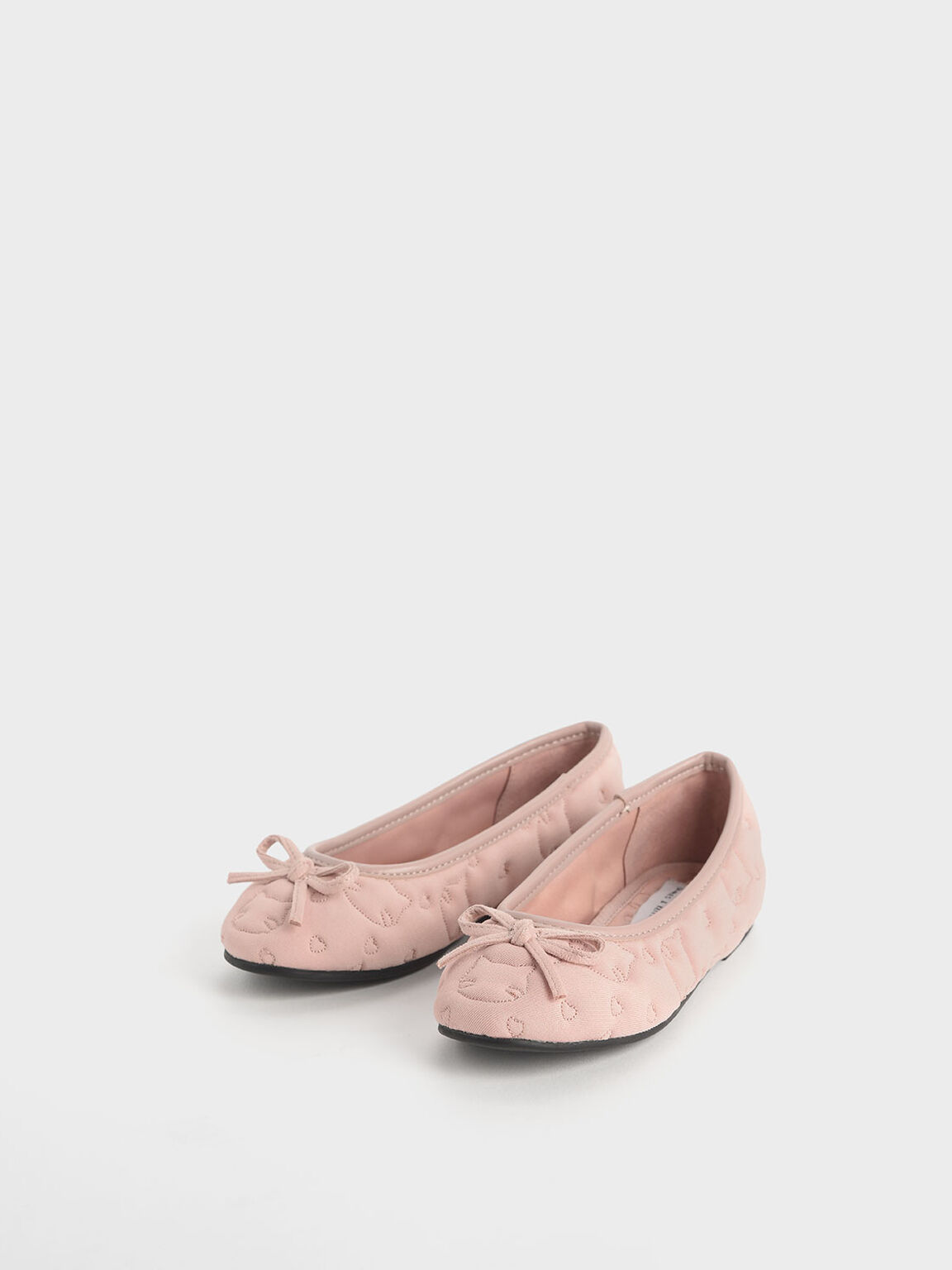 Girls' Cat Print Satin Ballerinas, Pink, hi-res