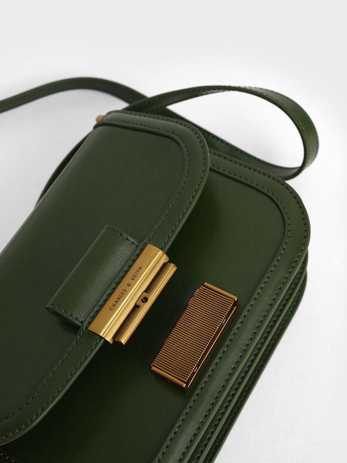 Metallic Push-Lock Crossbody Bag, Sage Green, hi-res