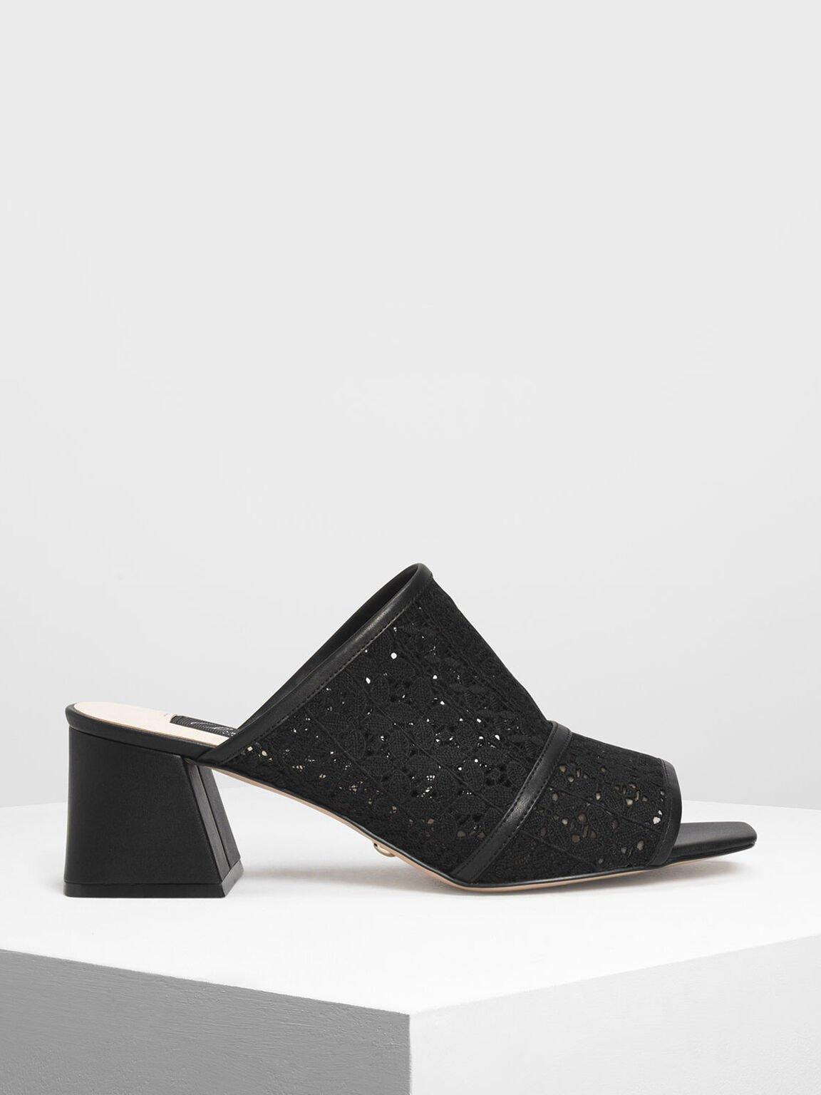 Crochet Block Heel Slide Sandals, Black, hi-res