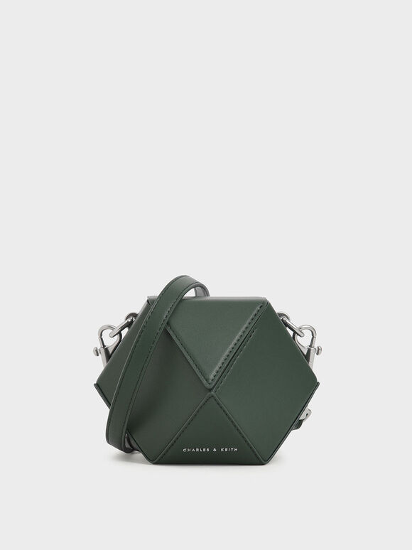 Chunky Chain Handle Hexagon Clutch, Dark Green, hi-res