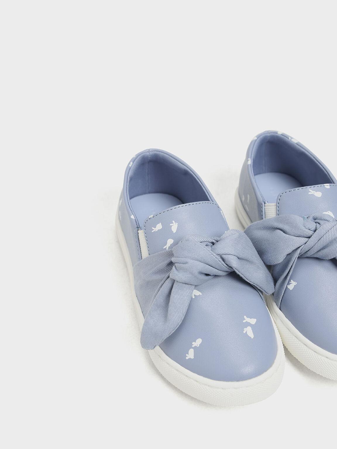 Kids' Bow Slip-On Sneakers, Light Blue, hi-res