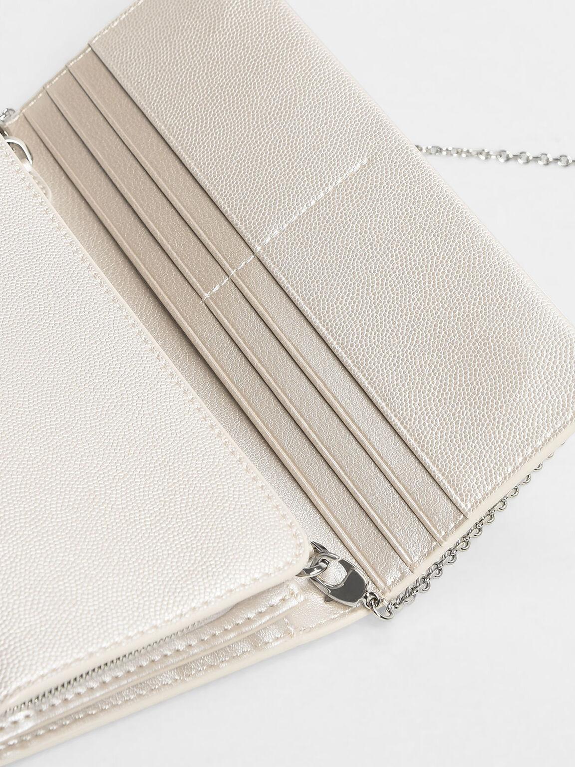 Front Flap Long Wallet, Pearl, hi-res