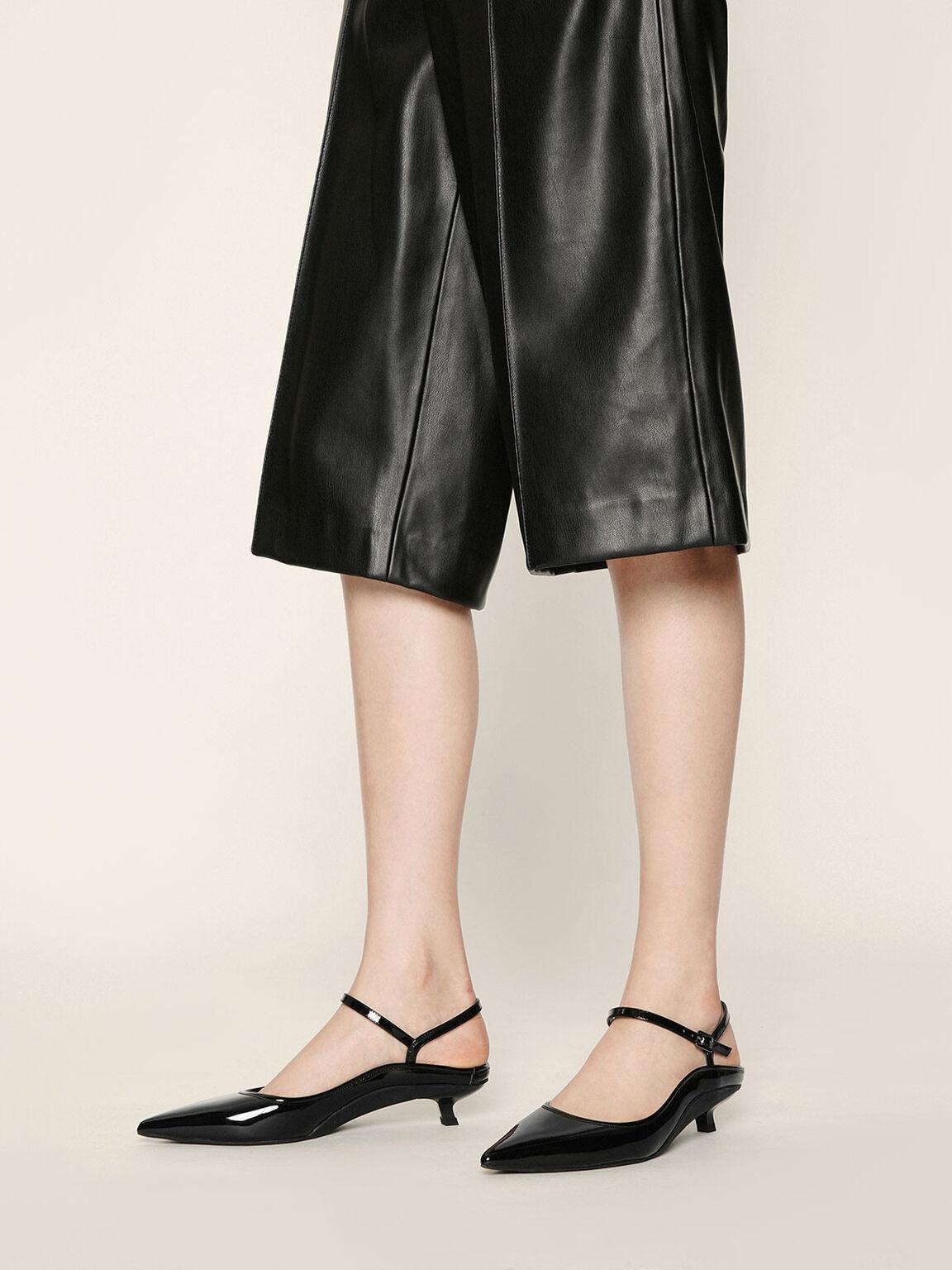 Patent Ankle Strap Kitten Heel Mules, Black, hi-res