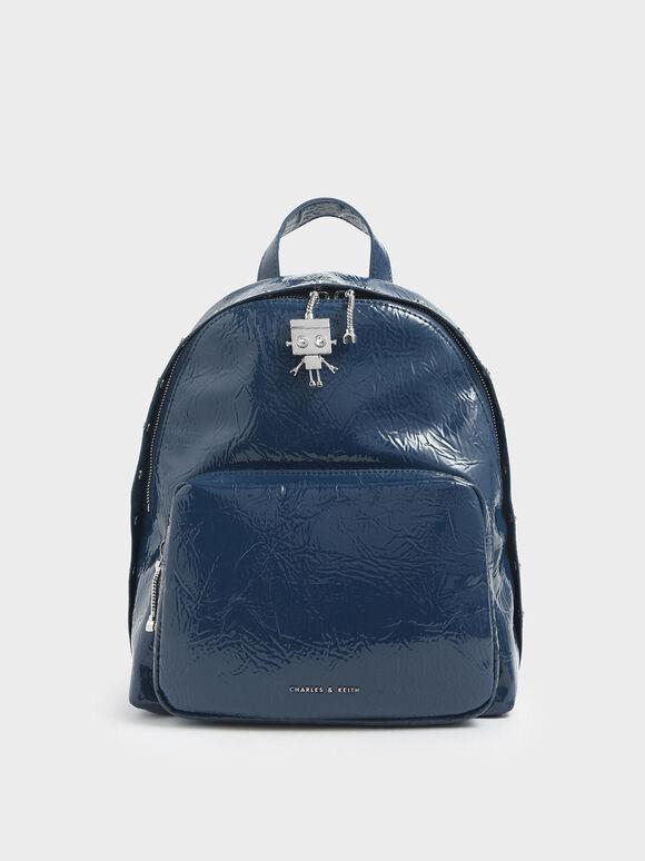 Robot Charm Wrinkled Patent Backpack, Blue, hi-res