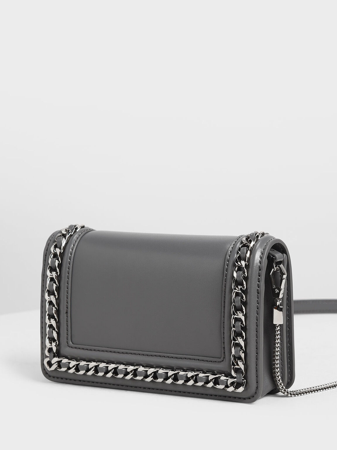 Chain Detail Clutch, Grey, hi-res