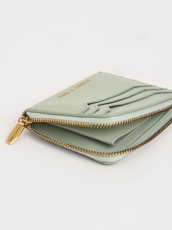 Zip Around Card Holder, Mint Green, hi-res