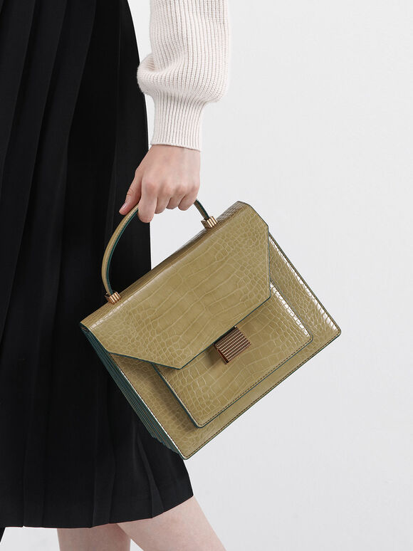Croc-Effect Top Handle Bag, Sand, hi-res