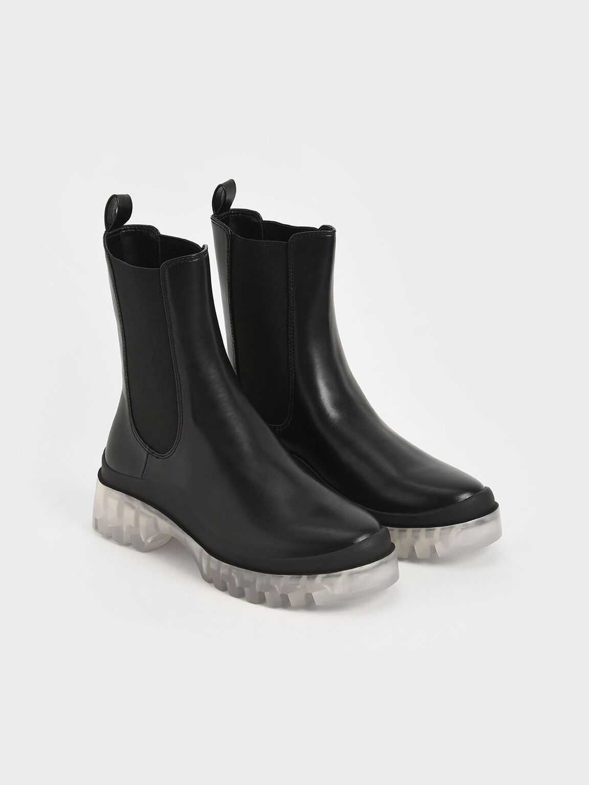 Clear Sole Chelsea Boots, Black, hi-res