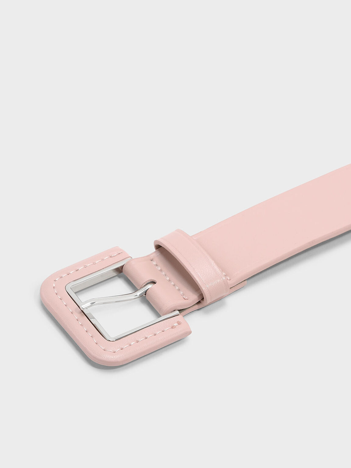 Metallic Accent Buckle Belt, Blush, hi-res