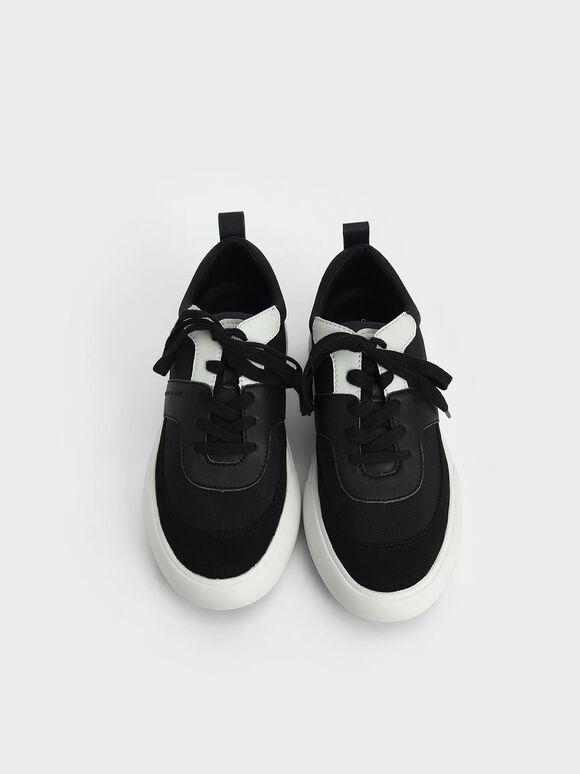 Textured Low Top Sneakers, Black, hi-res
