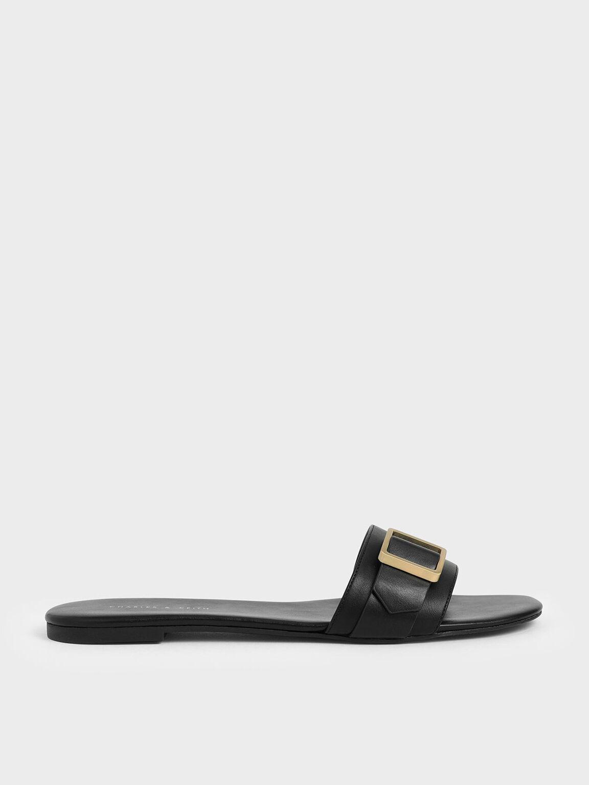 Frame Buckle Slide Sandals, Black, hi-res