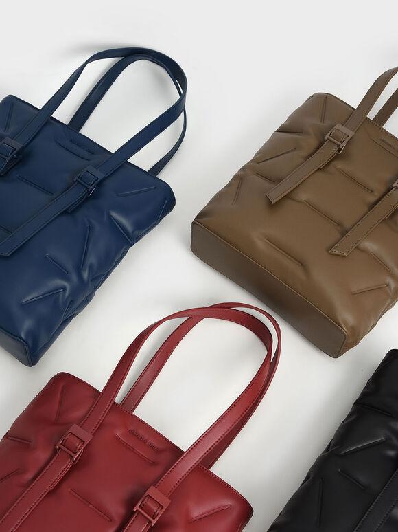 Puffer Double Handle Tote Bag, Dark Blue, hi-res