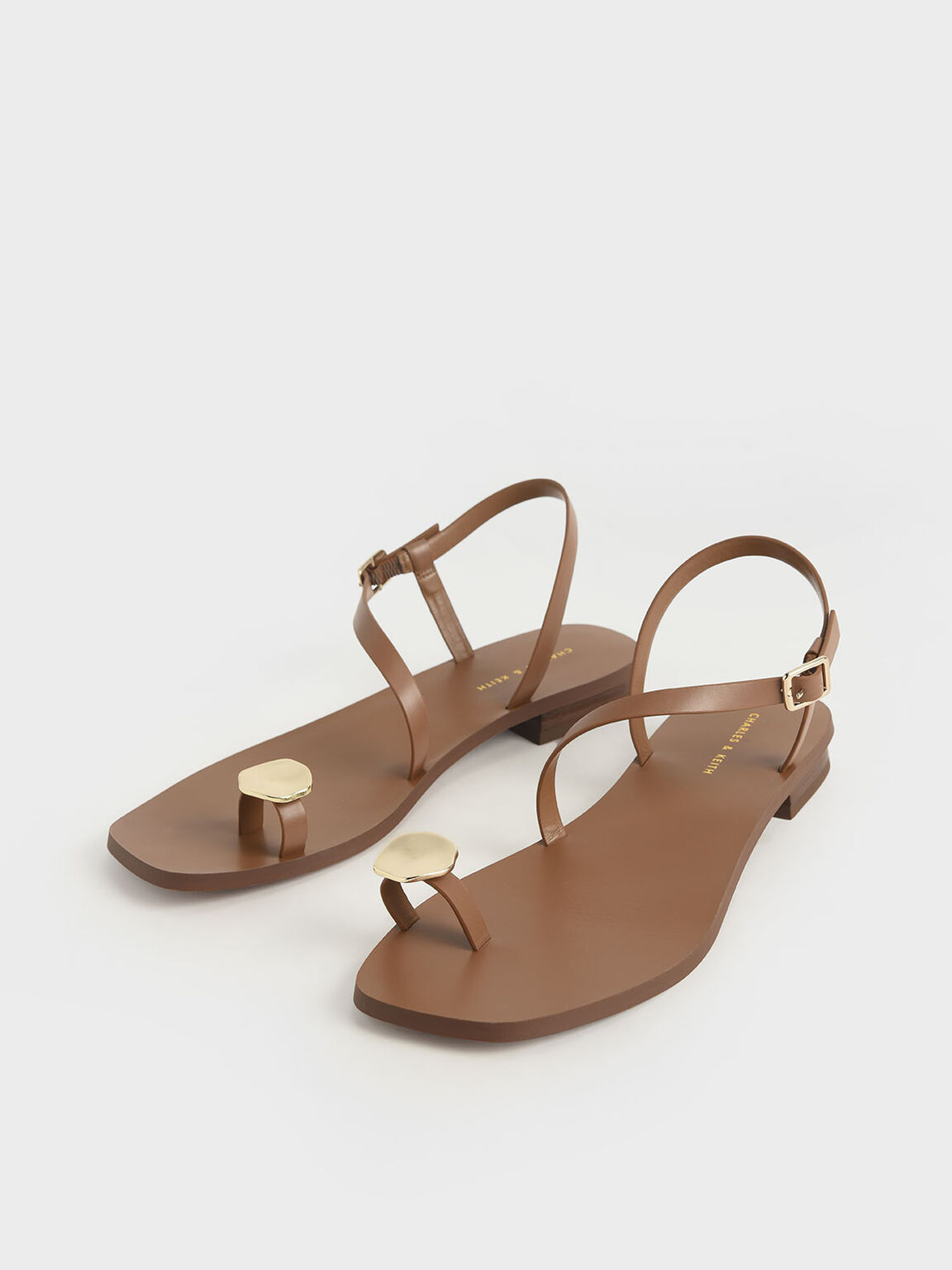 Metal Accent Toe Loop Sandals, Brown, hi-res