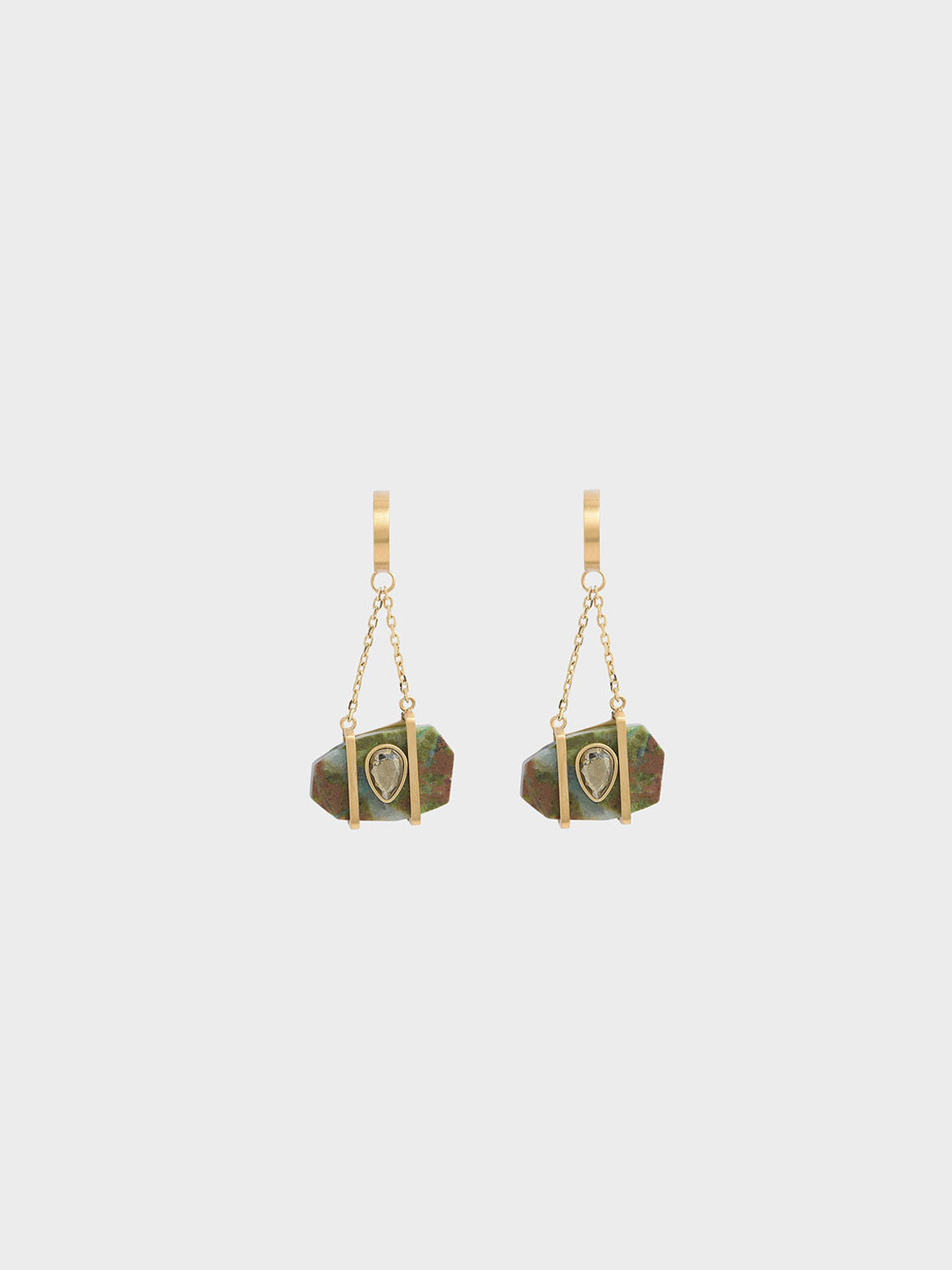 Chrysocolla & Pyrite Gemstone Drop Earrings, Turquoise, hi-res