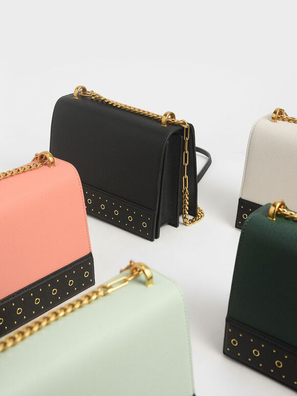 Eyelet-Embellished Crossbody Bag, Black, hi-res