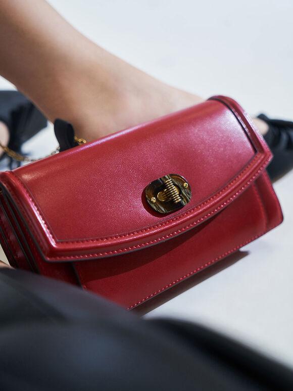 Stone-Embellished Curved Long Wallet, Red, hi-res