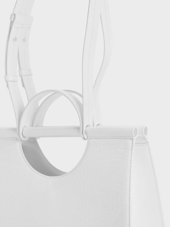 Croc-Effect Double Top Handle Structured Tote, White