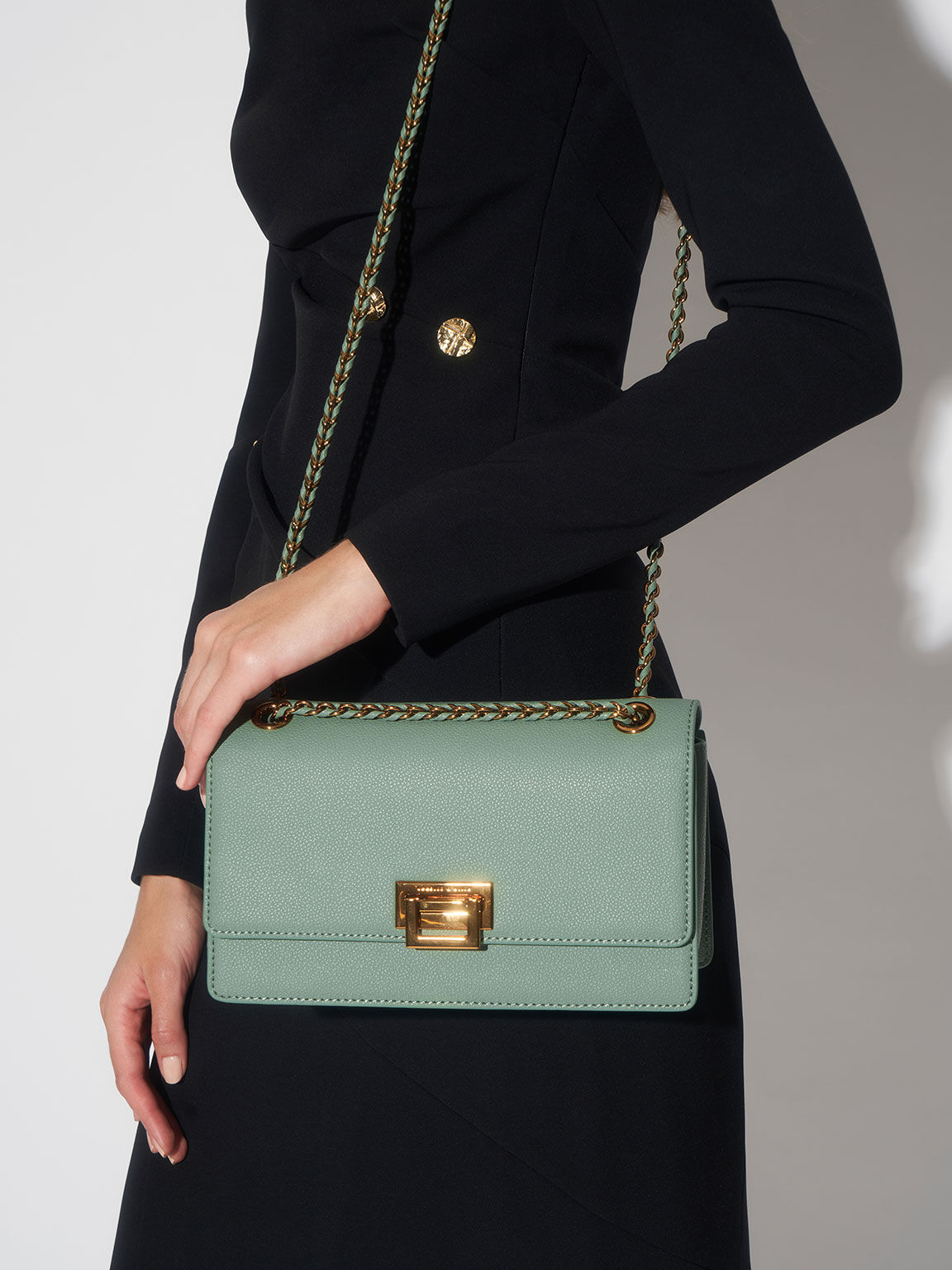 Metallic Push-Lock Shoulder Bag, Sage Green, hi-res