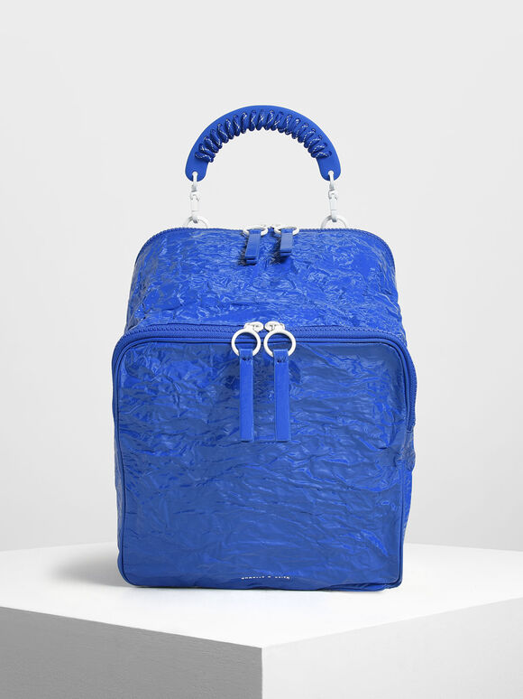 Rope Handle Wrinkled Effect Patent Backpack, Blue, hi-res