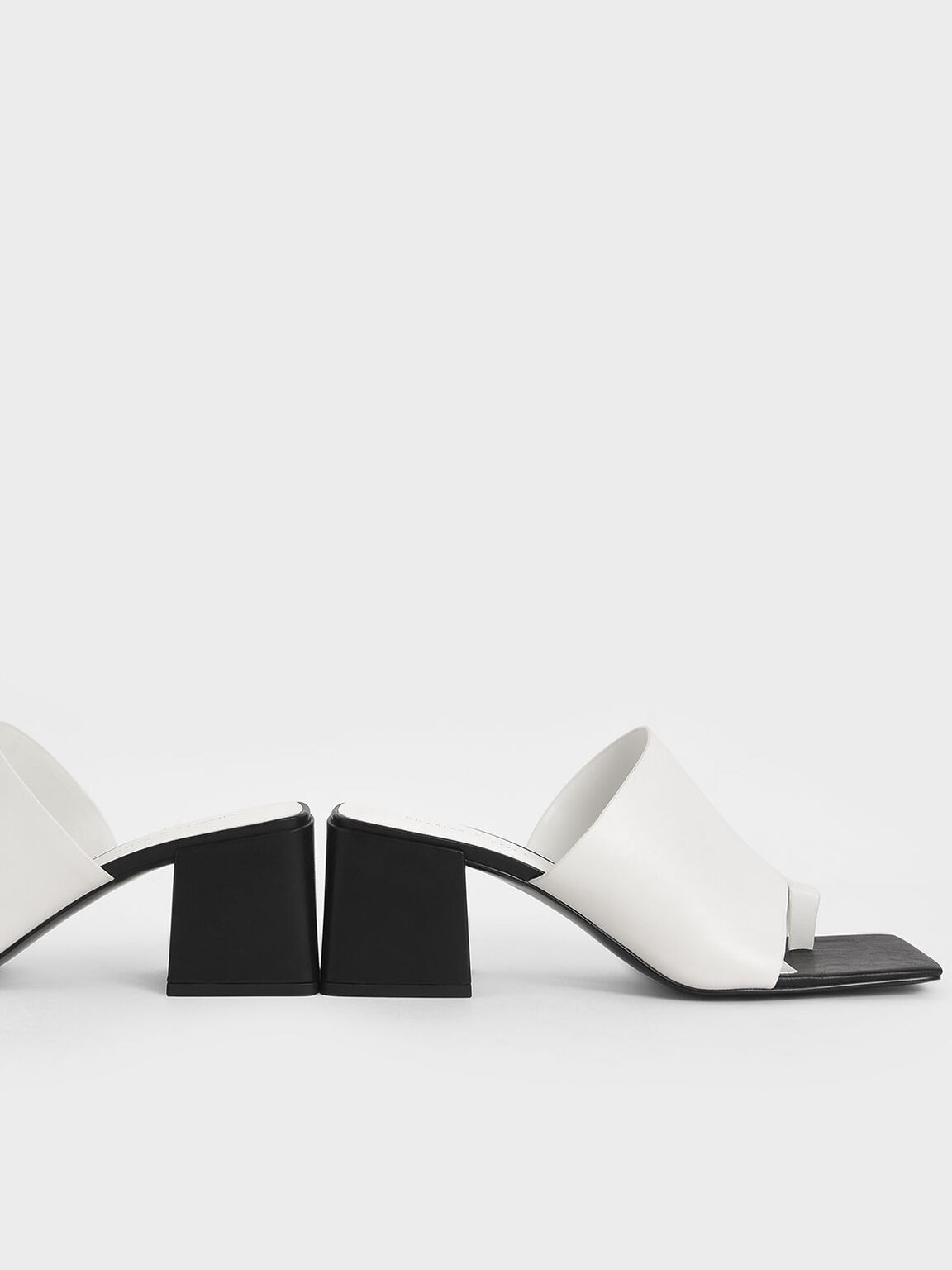 Toe Loop Chunky Heel Mules, White, hi-res