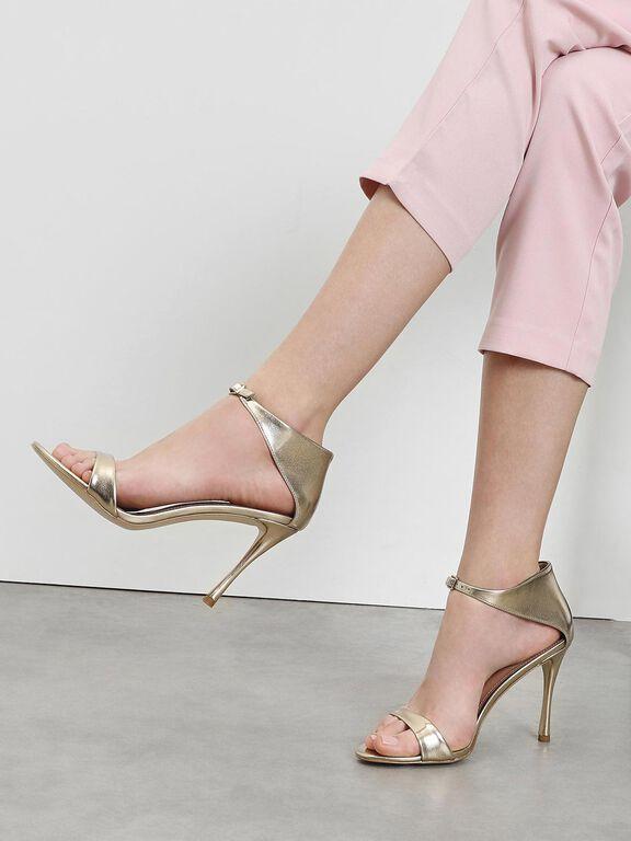 Front Buckle Heels, Gold