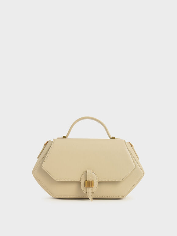 Top Handle Geometric Bag, Ivory, hi-res