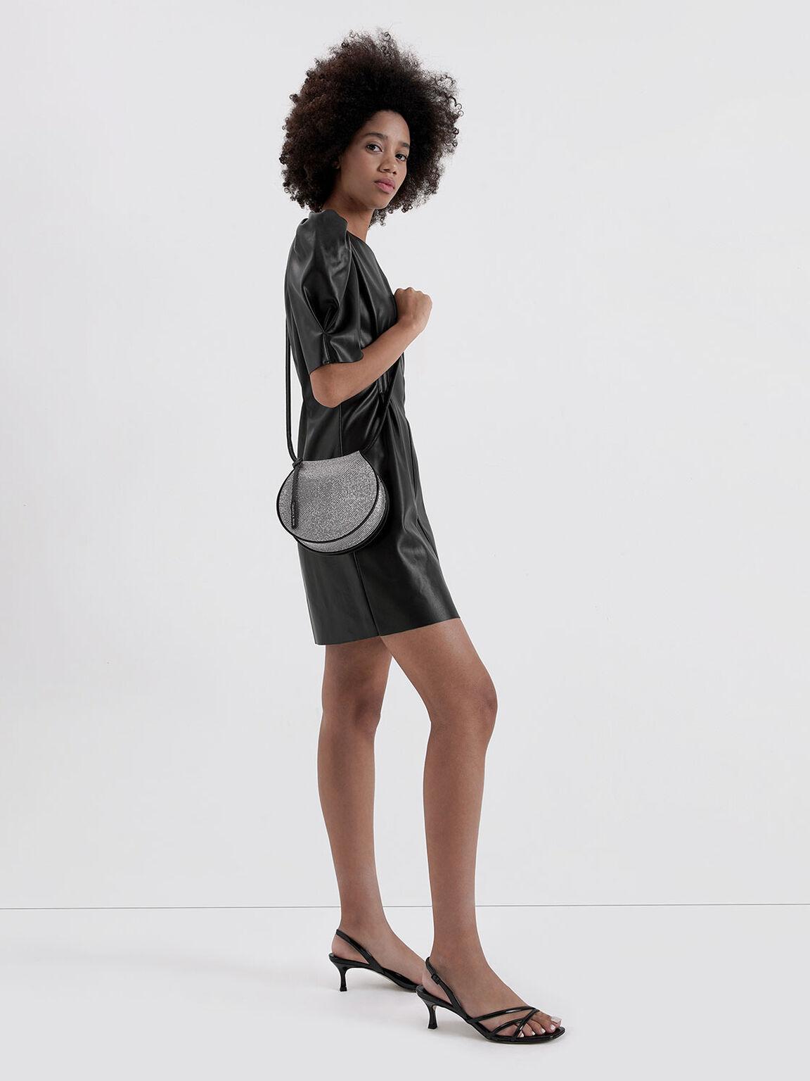 Microsuede Embellished Semi-Circle Bag, Black, hi-res