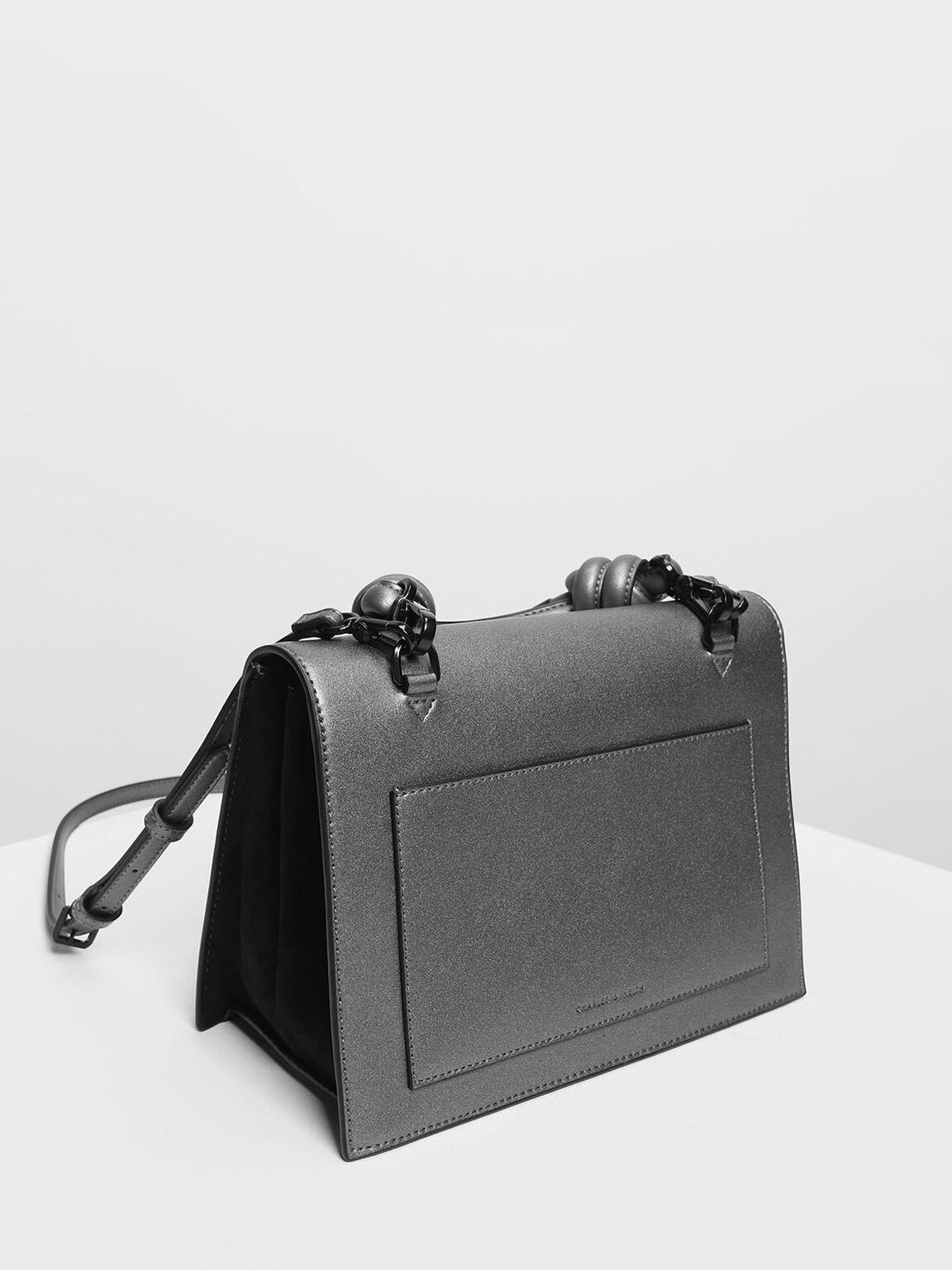 Knotted Detail Handle Bag, Pewter, hi-res