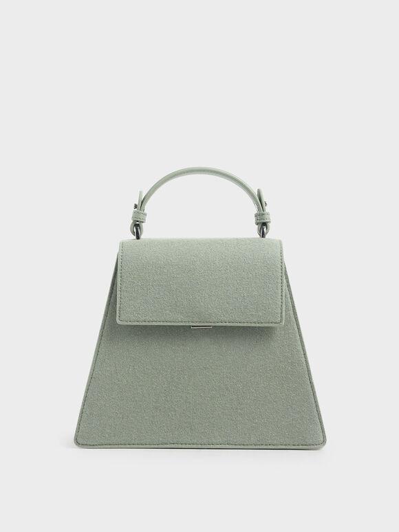 Angular Top Handle Felt Bag, Sage Green, hi-res
