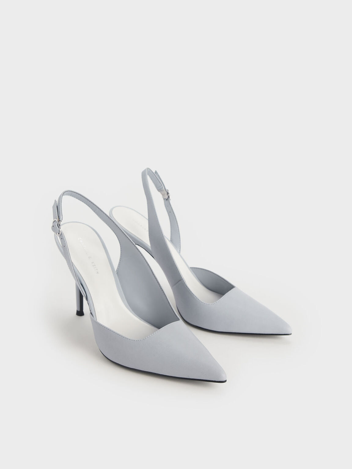 D'Orsay Slingback Heels, Light Blue, hi-res