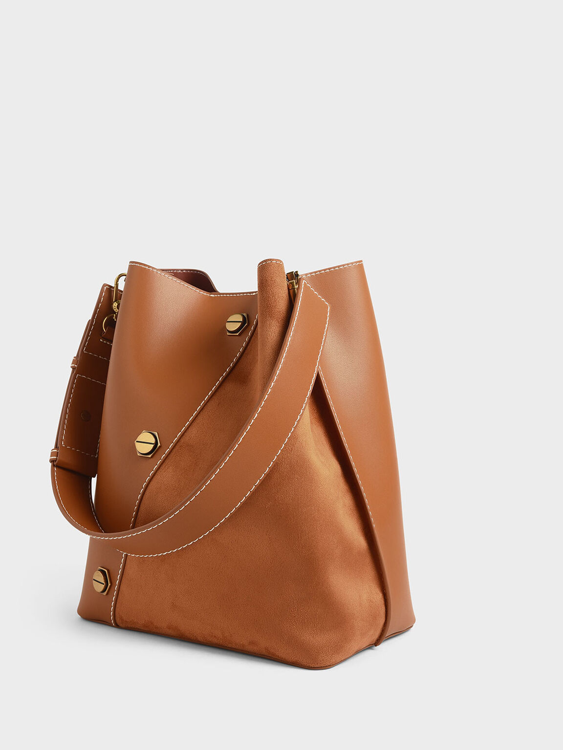 Studded Textured Hobo Bag, Tan, hi-res