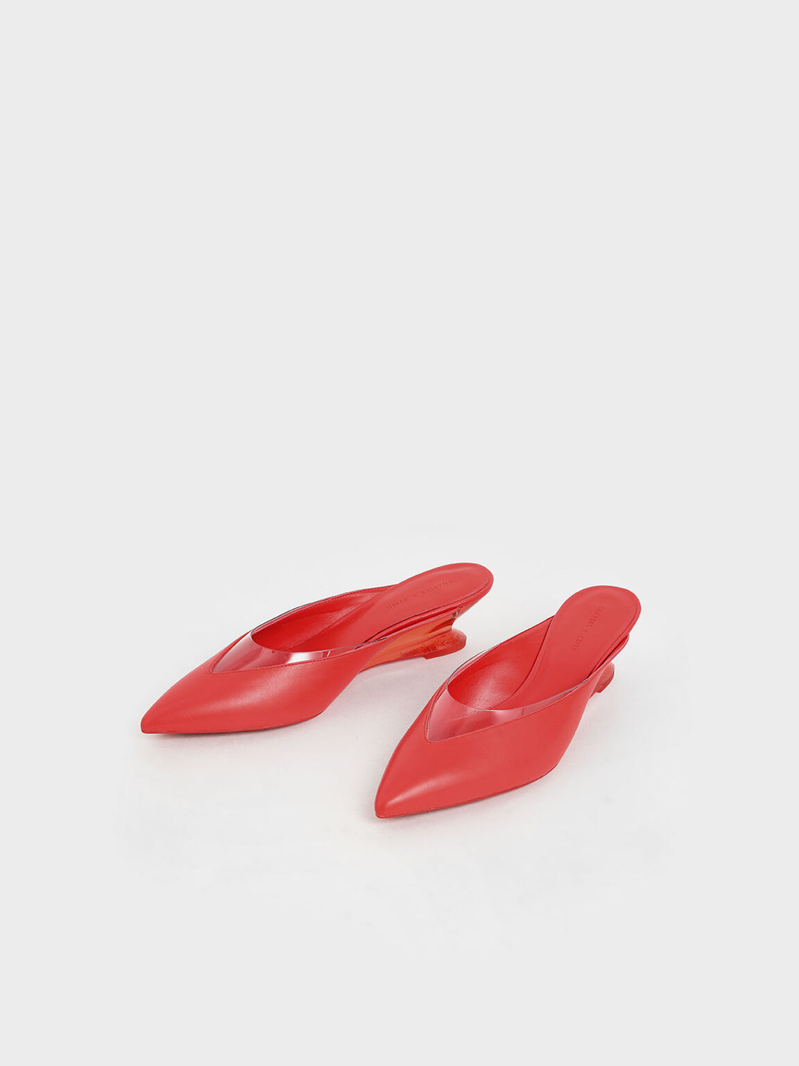 See-Through Effect Pointed Toe Mules, Red, hi-res