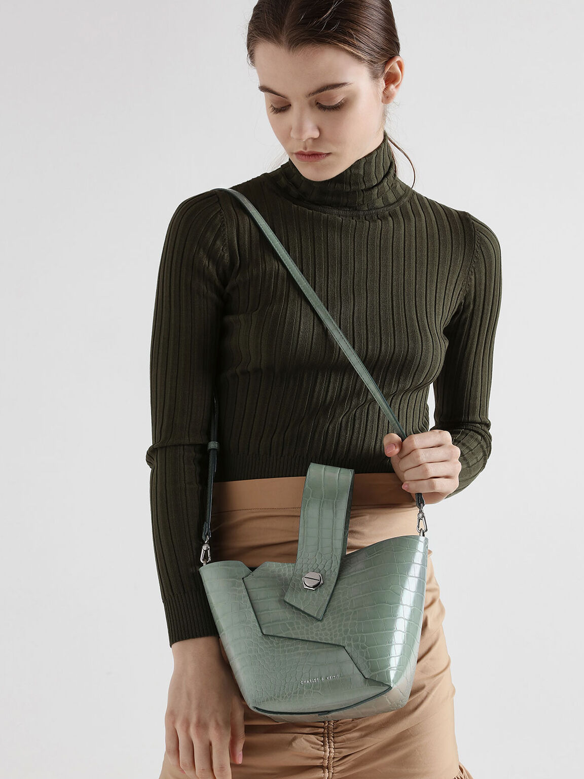 Croc-Effect Wristlet Handle Bucket Bag, Sage Green, hi-res
