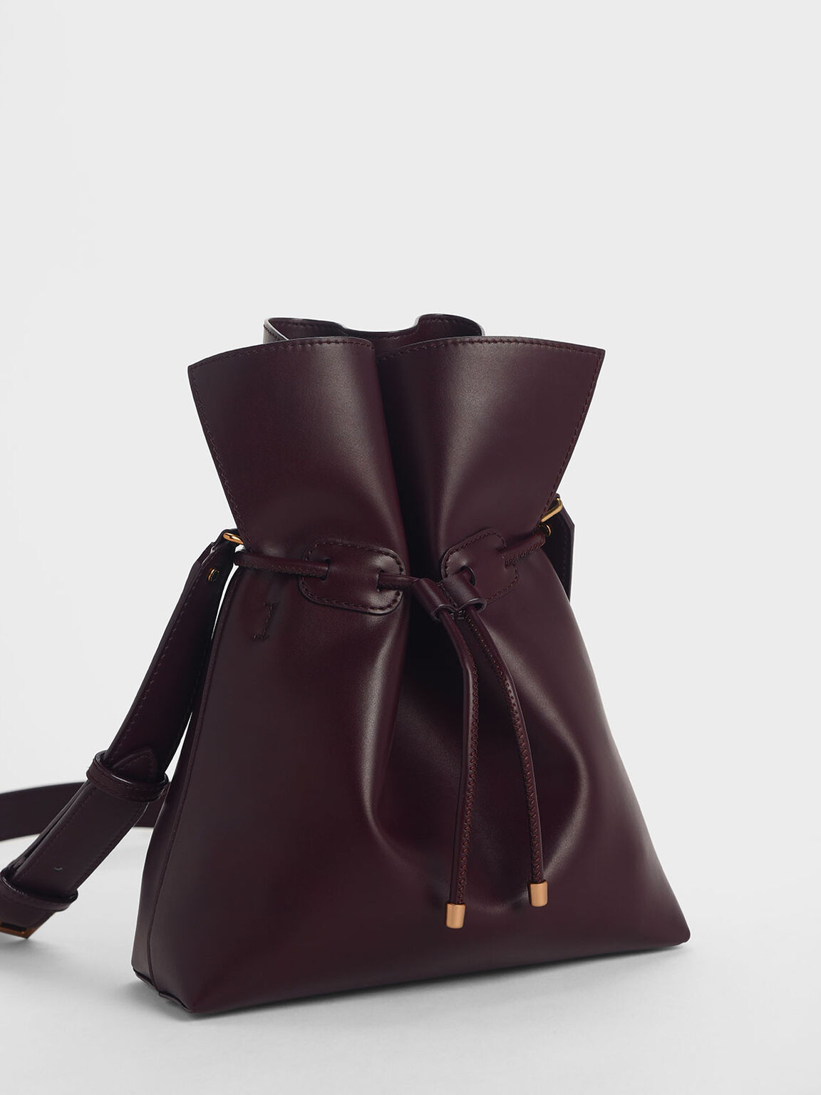 Drawstring Bucket Bag, Prune, hi-res