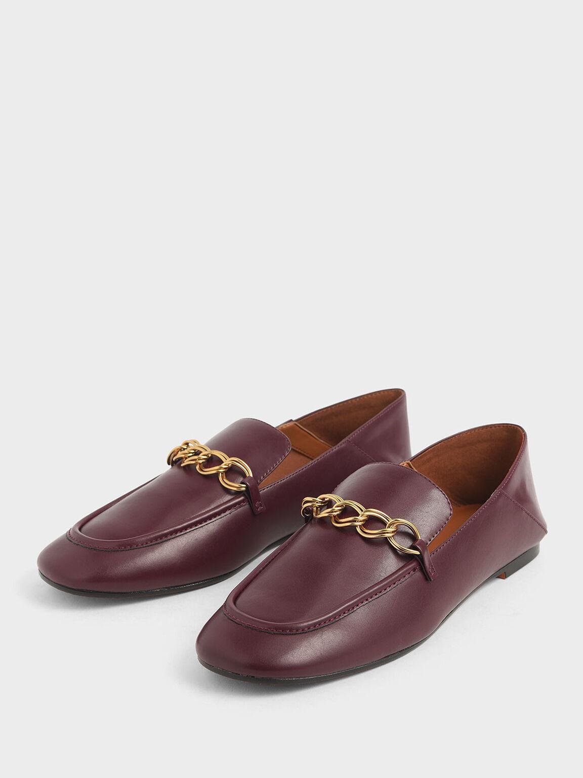 金屬鍊樂福鞋, 深紫紅, hi-res