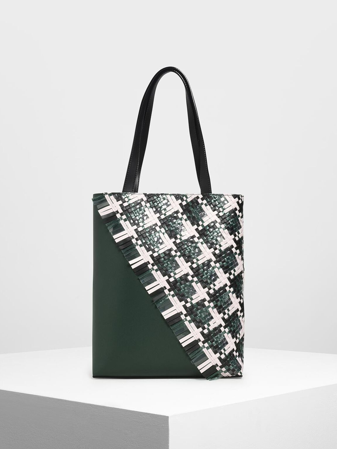 Woven Tote Bag, Dark Green, hi-res