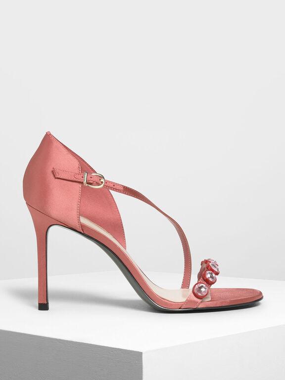 Embellished Strappy Heels, Coral Pink