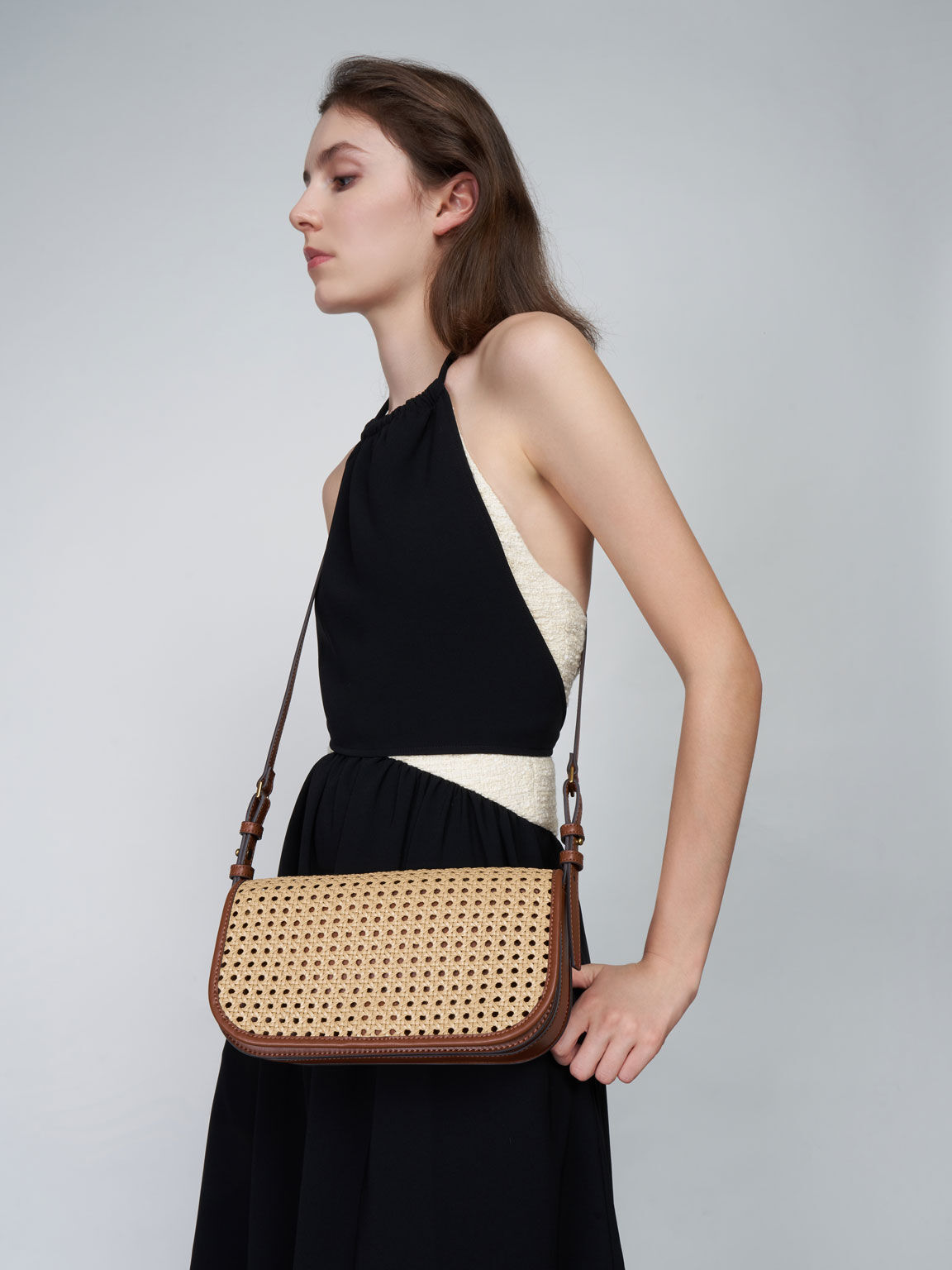 Woven Flap Shoulder Bag, Brown, hi-res